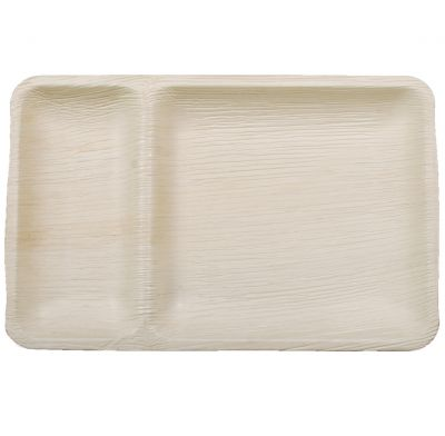 Areca Leaf Rectangular 2 compartments plate, Eco - Friendly, 100% Natural, Bio-degradable