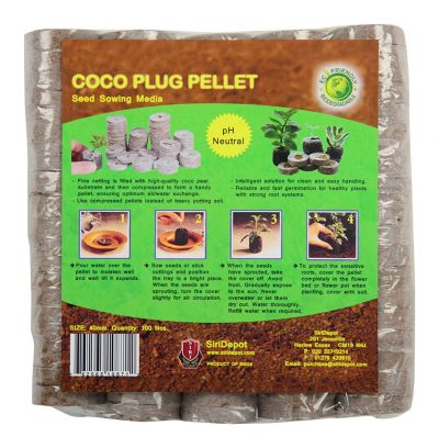 Coco Plug Pellets Seed Sowing Media For Germination 100% Biodegradable Size 40mm